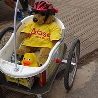 Leyton the bear - Afasic bike ride 2017